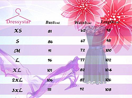 Dressystar DS0009 AbendKleid Ärmellos Kurz Brautjungfern Kleid Spitzen Rundhals Damen Kleider Grau M - 7