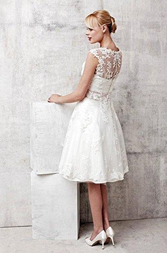 Aurora dresses Damen Hochzeitskleider Spitze Appliques Elegant Brautkleid Transparent Back Brautjungferkleider(Elfenbein,42) - 2