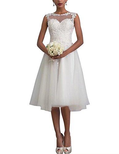 Aurora dresses Romantisches Hochzeitskleid, knieläng, Elfenbein