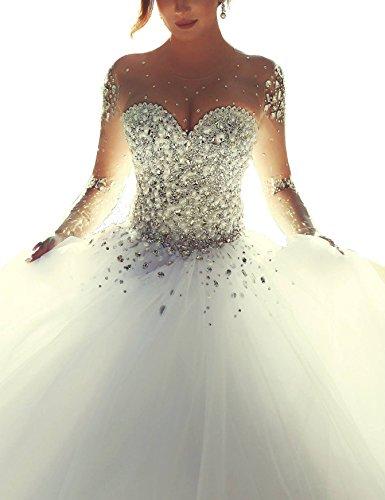 Topquality Brautkleid, Kristall Perlen, Prinzessin, lange Ärmel