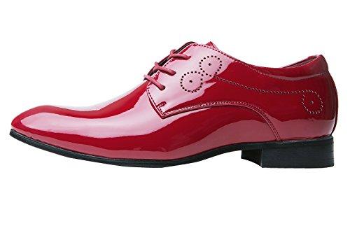Herrenschuhe Herren Derby Schnürhalbschuhe Business Schnürer Halbschuhe Klassischer Schuhe Männer Rote 42 EU - 2