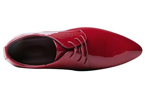 Herrenschuhe Herren Derby Schnürhalbschuhe Business Schnürer Halbschuhe Klassischer Schuhe Männer Rote 42 EU - 3