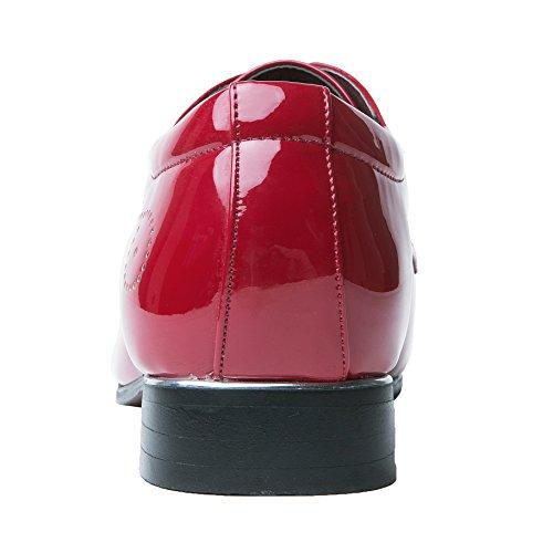 Herrenschuhe Herren Derby Schnürhalbschuhe Business Schnürer Halbschuhe Klassischer Schuhe Männer Rote 42 EU - 6
