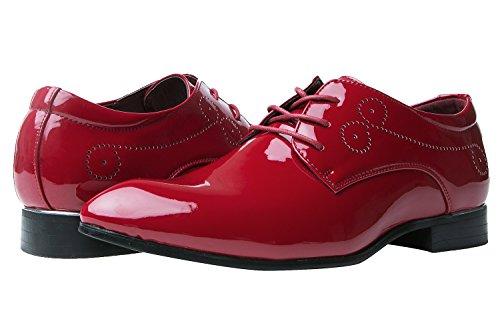 Herrenschuhe Herren Derby Schnürhalbschuhe Business Schnürer Halbschuhe Klassischer Schuhe Männer Rote 42 EU - 7