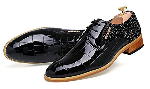 HYLM Nachtclub Haar Stylist spitze Schuhe Männer Business Lackleder Casual Schuhe England Bräutigam Hochzeit Schuhe , black , 40 - 2
