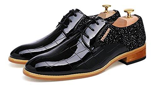 HYLM Nachtclub Haar Stylist spitze Schuhe Männer Business Lackleder Casual Schuhe England Bräutigam Hochzeit Schuhe , black , 40 - 4