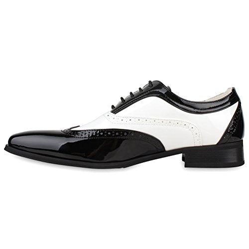Elegante Herren Tanz Budapester Lack Halb Schnürer Anzug Schuhe 116882 Schwarz Weiss 42 | Flandell® - 2