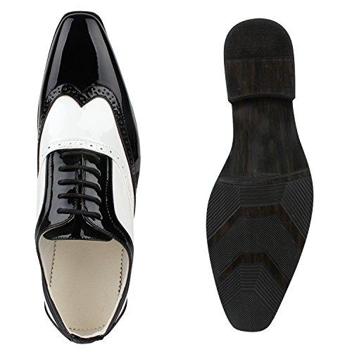Elegante Herren Tanz Budapester Lack Halb Schnürer Anzug Schuhe 116882 Schwarz Weiss 42 | Flandell® - 3