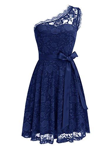 Wedtrend Ein-Schulter Brautjungferkleid, Navy