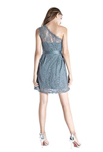 Wedtrend Frauen kurze Spitzenkleid Ein-Schulter Brautjungferkleid Sexy Partykleid Cocktailkleid WTL10009 Navy 3XL - 5