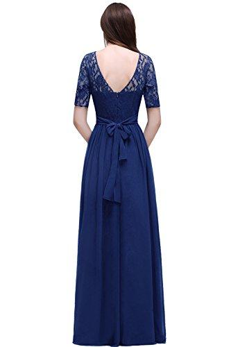 Damen Kleid Festliche Kleider für Hochzeit Brautjungferkleider Hochzeitskleider Cocktailkleid Chiffon Elegant Langes Abendkleid Royalblau Gr.46 - 2