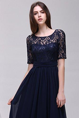 Damen Kleid Festliche Kleider für Hochzeit Brautjungferkleider Hochzeitskleider Cocktailkleid Chiffon Elegant Langes Abendkleid Royalblau Gr.46 - 4