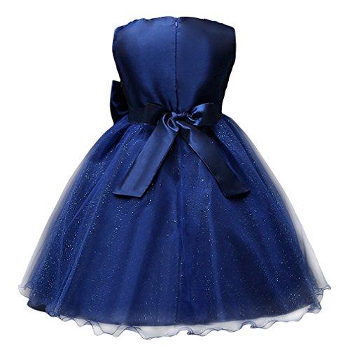 EOZY Mädchen Partykleid Tüll Schichten Brautjungferkleid Hochzeitskleid Dunkelblau Brust52cm - 2