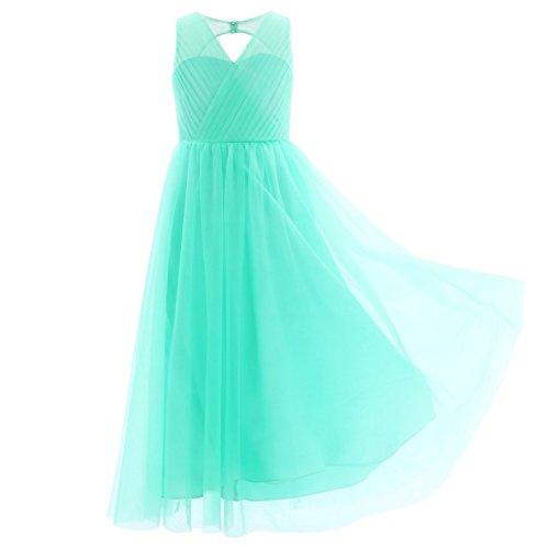 Freebily Mädchen Kleid lang A-Linie Partykleid Sommerkleid Hochzeit Blumenmädchen Kleider Abendkleid Brautjungferkleid Festzug in Gr. 104-164 Türkis 164 - 3