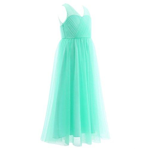 Freebily Mädchen Kleid lang A-Linie Partykleid Sommerkleid Hochzeit Blumenmädchen Kleider Abendkleid Brautjungferkleid Festzug in Gr. 104-164 Türkis 164 - 4