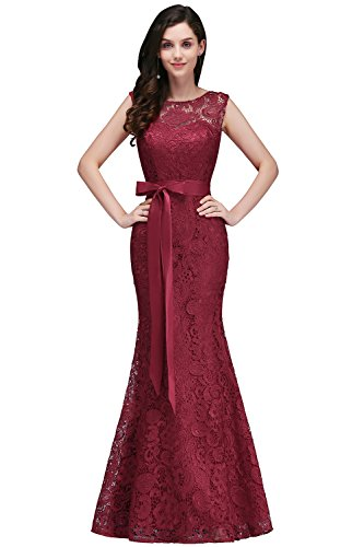 Damen Spitzenkleid festliche Kleider Brautjungferkleid Hochzeitskleid Cocktailkleid Langes Abendkleid Weinrot Gr.36 - 2