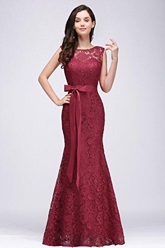 Damen Spitzenkleid festliche Kleider Brautjungferkleid Hochzeitskleid Cocktailkleid Langes Abendkleid Weinrot Gr.36 - 4