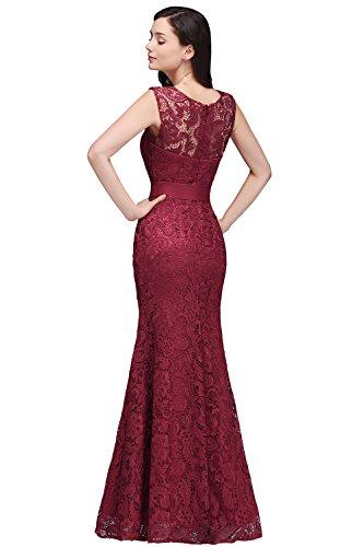 Damen Spitzenkleid festliche Kleider Brautjungferkleid Hochzeitskleid Cocktailkleid Langes Abendkleid Weinrot Gr.36 - 5