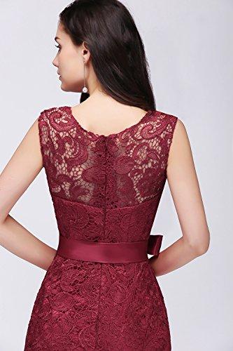 Damen Spitzenkleid festliche Kleider Brautjungferkleid Hochzeitskleid Cocktailkleid Langes Abendkleid Weinrot Gr.36 - 7
