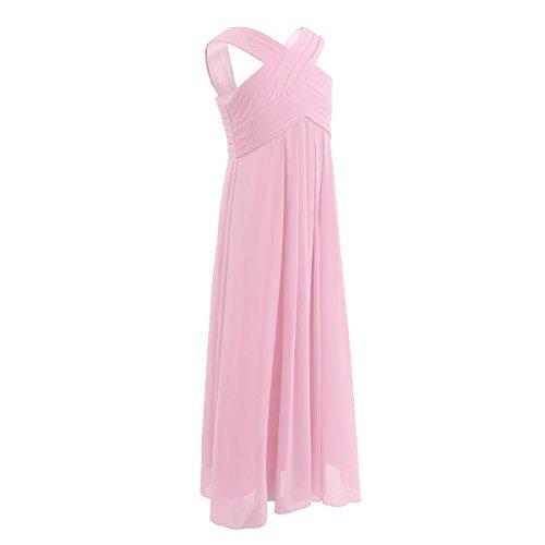 iiniim Mädchen Kleid Langes Chiffon Kleid Festlich Hochzeit Kleid Blumenmädchenkleider Abendkleid Brautjungferkleid Partykleid Gr.104-164 Rosa 140/10 Jahre - 2