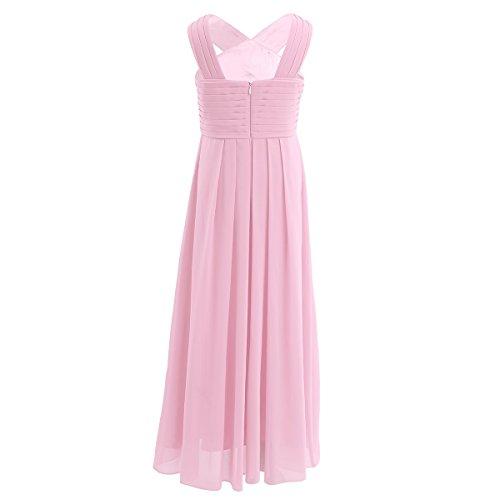 iiniim Mädchen Kleid Langes Chiffon Kleid Festlich Hochzeit Kleid Blumenmädchenkleider Abendkleid Brautjungferkleid Partykleid Gr.104-164 Rosa 140/10 Jahre - 3