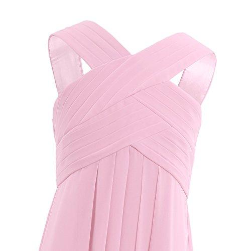 iiniim Mädchen Kleid Langes Chiffon Kleid Festlich Hochzeit Kleid Blumenmädchenkleider Abendkleid Brautjungferkleid Partykleid Gr.104-164 Rosa 140/10 Jahre - 4