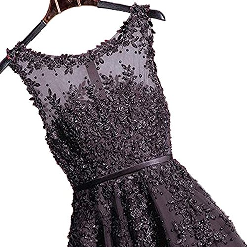 Damen abendkleider elegant spitze Tüll A-Linie knielang Ballkleid Cocktailkleider hochzeit brautjungferkleider Ufly - 3