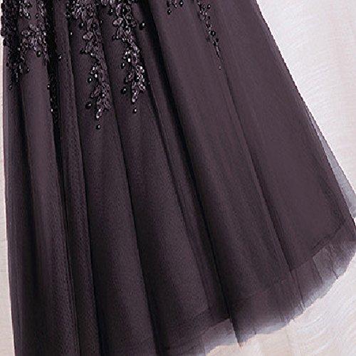Damen abendkleider elegant spitze Tüll A-Linie knielang Ballkleid Cocktailkleider hochzeit brautjungferkleider Ufly - 4