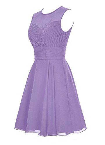 Xiongfeng®Damen Knielang Chiffon Ballkleider A-Linie Brautjungferkleider Abendkleid Schwarz - 2