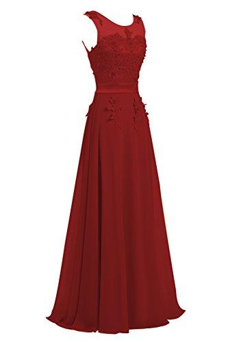 CoutureBridal® Brautjungferkleid, Chiffon, Weinrot