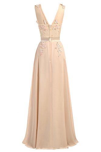 CoutureBridal® Damen Kleid Lang Abendkleider Abschlussball Ballkleid Brautjungferkleid Wulstige Chiffon Weinrot EU36 - 2