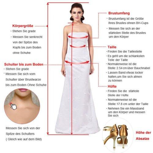 CoutureBridal® Damen Kleid Lang Abendkleider Abschlussball Ballkleid Brautjungferkleid Wulstige Chiffon Weinrot EU36 - 3
