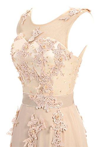 CoutureBridal® Damen Kleid Lang Abendkleider Abschlussball Ballkleid Brautjungferkleid Wulstige Chiffon Weinrot EU36 - 5