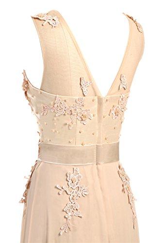 CoutureBridal® Damen Kleid Lang Abendkleider Abschlussball Ballkleid Brautjungferkleid Wulstige Chiffon Weinrot EU36 - 6