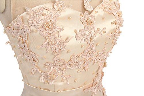 CoutureBridal® Damen Kleid Lang Abendkleider Abschlussball Ballkleid Brautjungferkleid Wulstige Chiffon Weinrot EU36 - 7