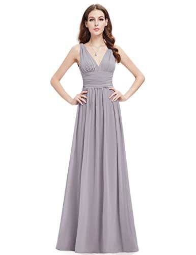Ever Pretty Langes Chiffon Brautjungfernkleid, V-Ausschnitt, Grau