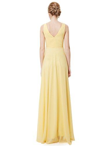 Ever Pretty Damen V-Ausschnitt Chiffon Lange Abendkleider 48 Gelb EP09983YL16 - 2