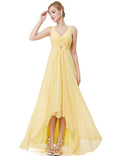 Ever Pretty Damen V-Ausschnitt Chiffon Lange Abendkleider 48 Gelb EP09983YL16 - 4