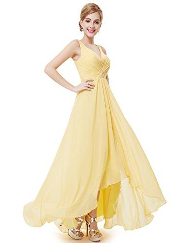 Ever Pretty Damen V-Ausschnitt Chiffon Lange Abendkleider 48 Gelb EP09983YL16 - 5