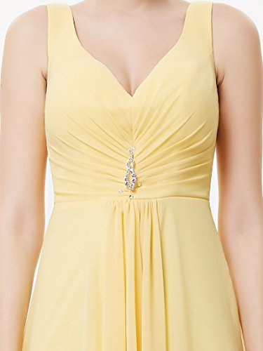 Ever Pretty Damen V-Ausschnitt Chiffon Lange Abendkleider 48 Gelb EP09983YL16 - 6