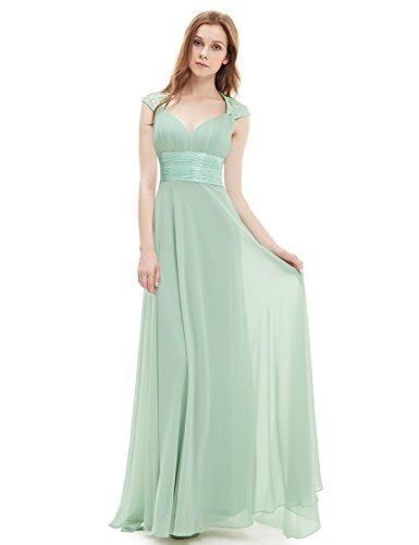 Ever Pretty Damen V-Ausschnitt Lange Chiffon Abendkleider Festkleider 42 Hellviolett EP09672LV10 - 4