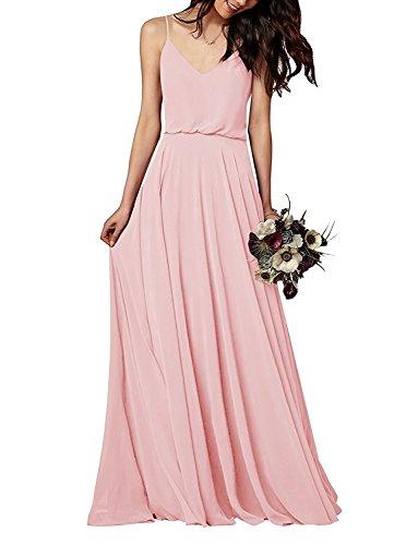 WADAYUYU Elegantes Chiffon Brautjungfernkleid, Rosa