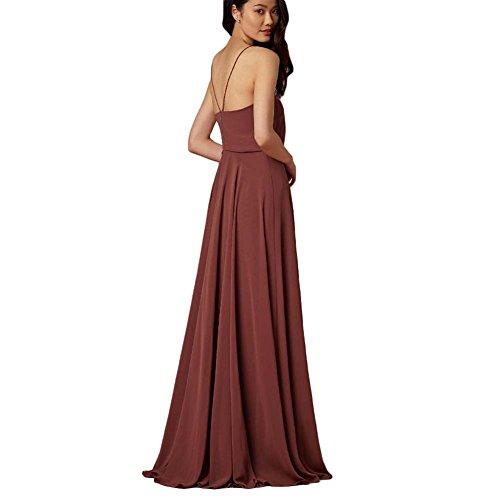 WADAYUYU Damen Elegant Chiffon Einfache Spaghetti Straps Flowy lange Brautjungfer Abendkleider Partykleider Festkleider Tanzenkleider Rosa2 36 - 2