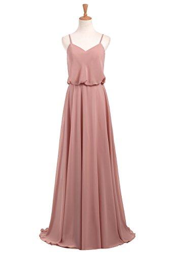 WADAYUYU Damen Elegant Chiffon Einfache Spaghetti Straps Flowy lange Brautjungfer Abendkleider Partykleider Festkleider Tanzenkleider Rosa2 36 - 3