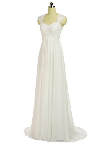 Erosebridal Ärmellos Spitze Chiffon Hochzeitskleid Brautkleid Elfenbein DE38 -