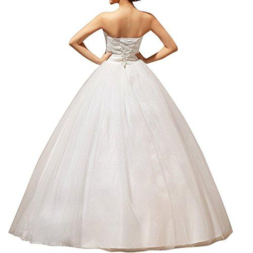 LATH.PIN Damen Abendkleider Elegant Abschlussballkleider Bandeau Kleid Hochzeitskleid mit Stickerei Brautkleid, Gr L -