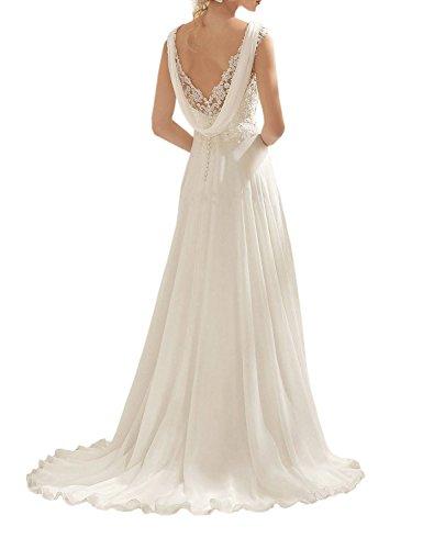 Vougemarket® A-Linie Lang Spitze Chiffon Brautkleid Hochzeitskleid Strand Brautmode mit Träger Elfenbein 38 -