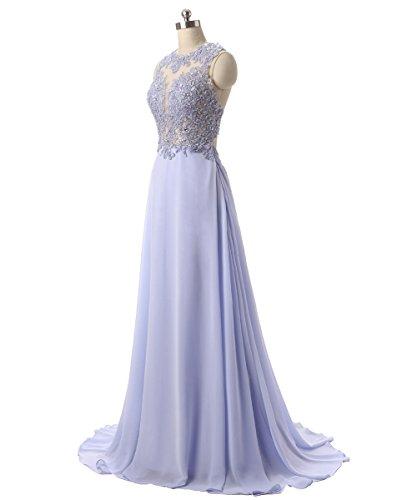 Callmelady Abendkleider Lang Spitze Elegant Ballkleider Damen Abiballkleid 2017 Cocktailkleid (Marineblau, EU44) - 3