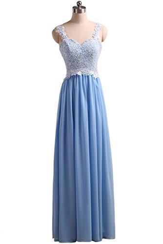 Callmelady Chiffon Brautjungfernkleid mit Trägern, Blau