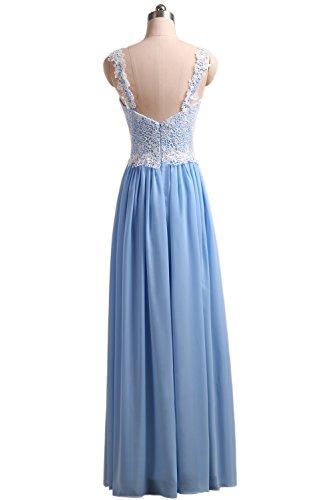 Callmelady Chiffon Ballkleider Spitze Abendkleider Damen mit Träger (Blau, EU38) - 2